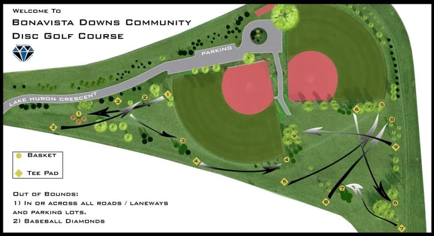 Bonavista Downs Community Disc Golf Course Map Layout Play